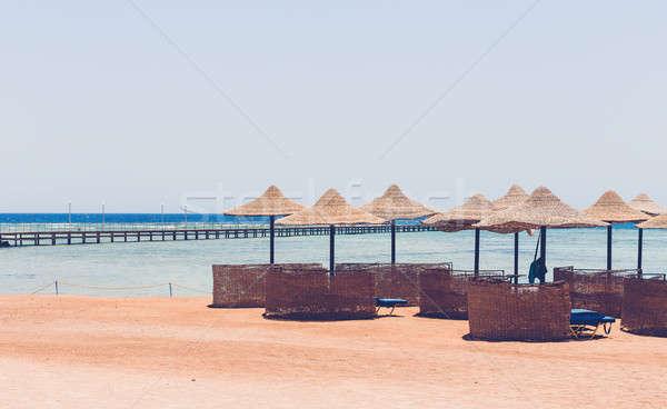 ビーチ 傘 青空 エジプト 楽園 ストックフォト © artush