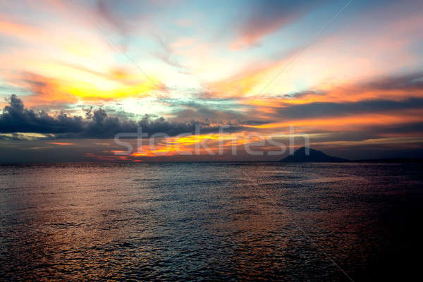 City Manado, North Sulawesi dramatic sky and volcano Stock photo © artush