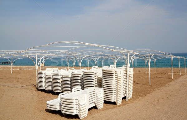 Empty beach with sun lounger Stock photo © artush