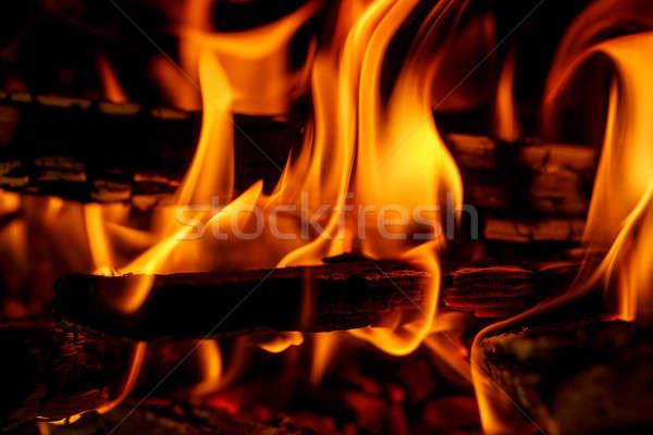 Brandhout brandend haard brand licht Stockfoto © artush