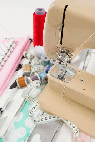 Photo stock: Machine · à · coudre · tissu · mesure · bande · détail · coton