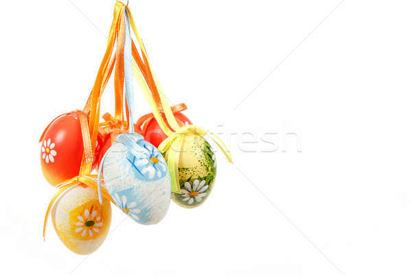 hanged bright color easter eggs with bows Stock photo © artush