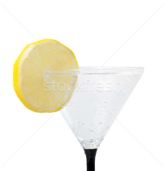 fresh lemon in glass with water drops Stock photo © artush