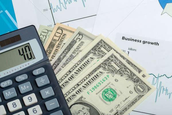 USA dollár pénz bankjegyek toll számológép Stock fotó © artush