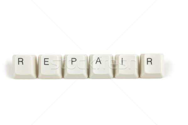 Javítás billentyűzet kulcsok fehér szöveg izolált Stock fotó © artush