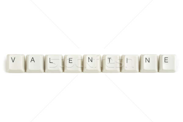 valentine from scattered keyboard keys on white Stock photo © artush