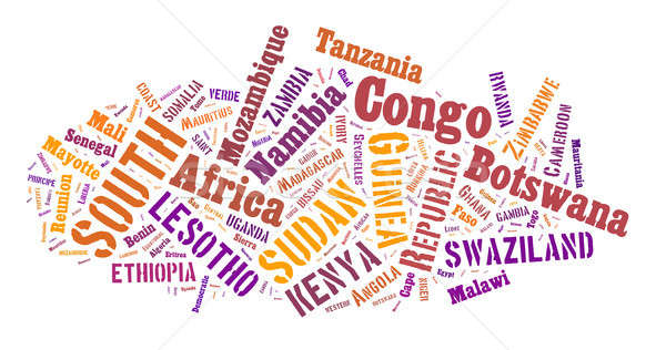 African words cloud in shape. Stock photo © artush