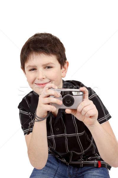 небольшой мальчика горизонтальный цифровая камера белый Сток-фото © artush