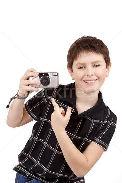 Faible garçon analogique caméra blanche Photo stock © artush