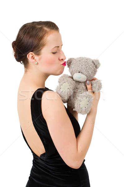 attractive kissing brunette holding teddy bear Stock photo © artush