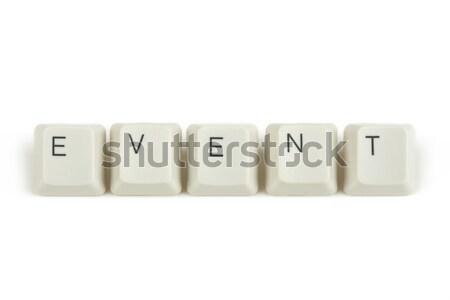 Esemény billentyűzet kulcsok fehér szöveg izolált Stock fotó © artush