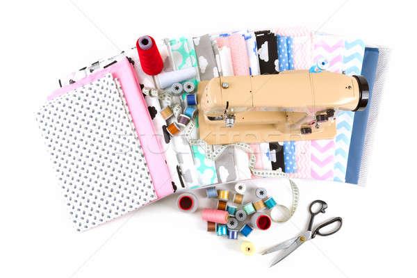 Maszyny do szycia tkaniny krawiec narzędzia bawełny pomiary Zdjęcia stock © artush