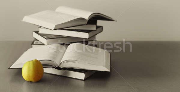 green apple and opened books  Stock photo © artush