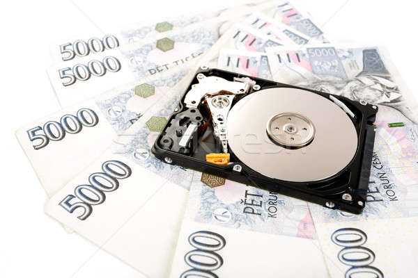 The open hard disk, with czech money banknotes Stock photo © artush