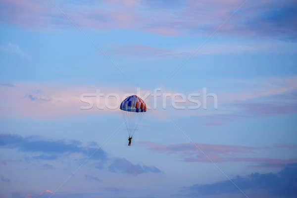 unidentified skydiver, parachutist on blue sky Stock photo © artush