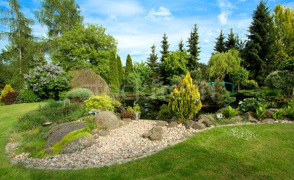 Gyönyörű tavasz kert terv fák zöld fű Stock fotó © artush