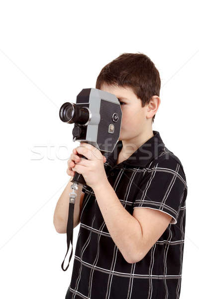 young boy with old vintage analog 8mm camera Stock photo © artush
