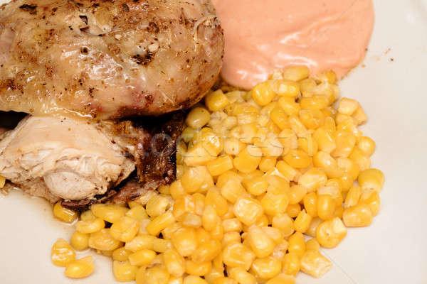 Gegrilde kip mais hete saus plaat voedsel vlees Stockfoto © artush