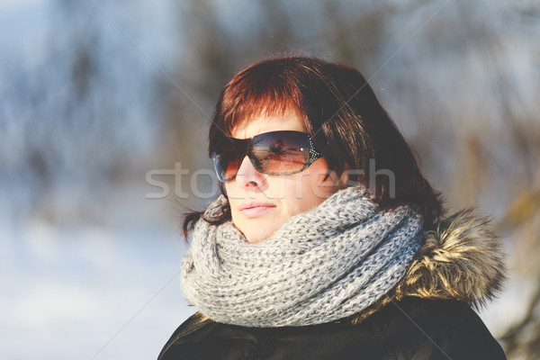 woman with sunglasses without makeup in winter time Stock photo © artush