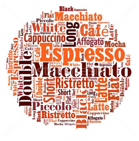 Kawy napojów słowa Chmura kolaż plakat Zdjęcia stock © artush