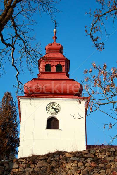Cattolico chiesa clock cielo blu Pasqua costruzione Foto d'archivio © artush