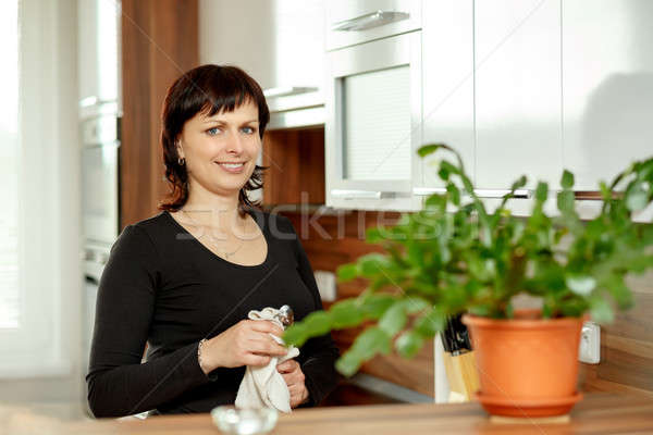middle-aged woman wipes the dishes in the kitchen Stock photo © artush
