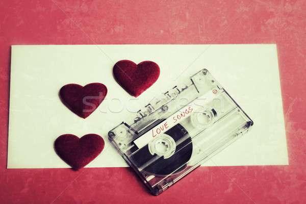 Audio kaseta taśmy czerwony vintage kolor Zdjęcia stock © artush
