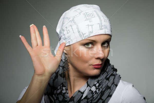 Gyönyörű középső kor nő rák beteg Stock fotó © artush