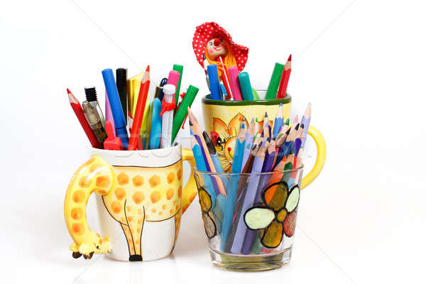 pen holders  with colored pens on a white background  Stock photo © artush