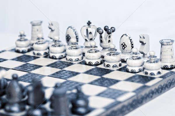 Streszczenie szachownica skupić biały pionek tabeli Zdjęcia stock © artush