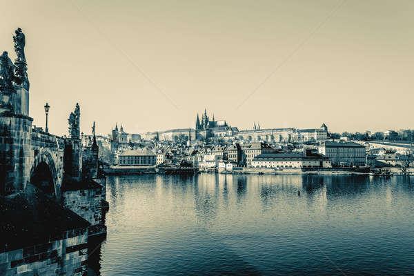 View of the castle and the Vltava River - retro colors Stock photo © artush
