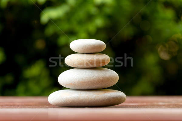 Pile of balancing pebble stones outdoor Stock photo © artush