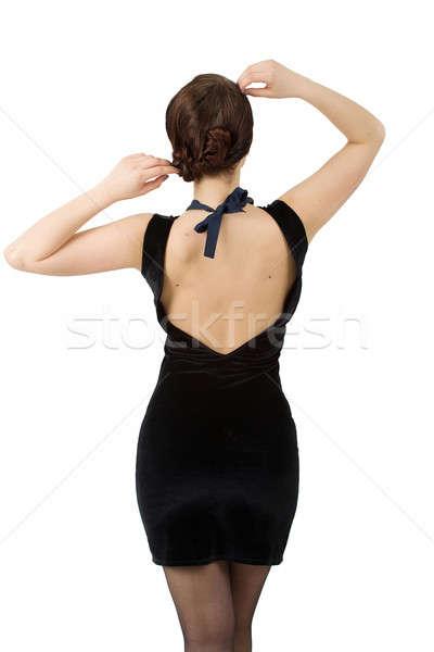Foto stock: Jovem · mulher · ver · de · volta · moda · mãos · cabelo