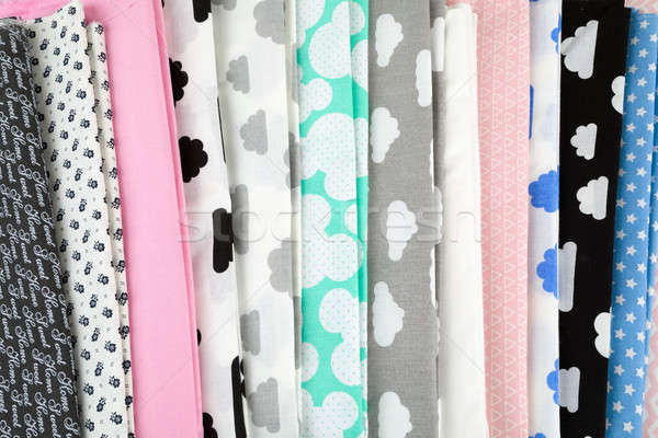 Stack of cotton fabric material background Stock photo © artush