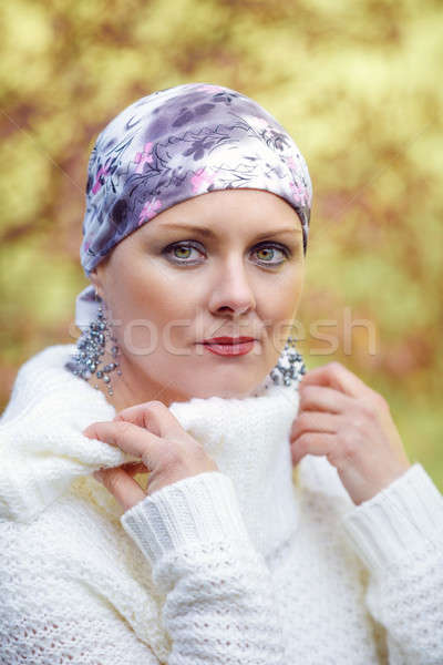beautiful middle age woman cancer patient wearing headscarf Stock photo © artush