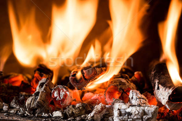 Flame in a fireplace Stock photo © artush