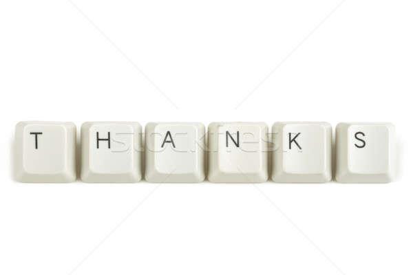 Dank toetsenbord sleutels witte tekst geïsoleerd Stockfoto © artush