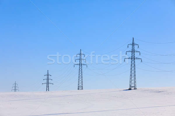 Alta tensão blue sky inverno paisagem céu Foto stock © artush