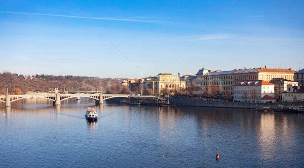 View to the Prague river Vltava Stock photo © artush