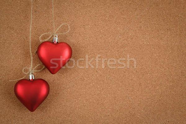 Vazio placa de cortiça valentine mensagem escritório Foto stock © artush