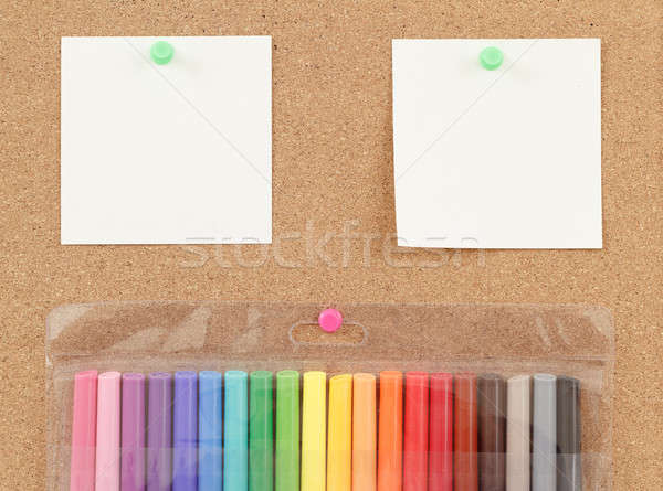 color markers with notes on cork board  Stock photo © artush