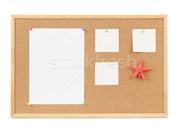 üres jegyzet papírok parafa tábla négy levél Stock fotó © artush