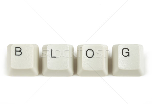 Stock photo: blog from scattered keyboard keys on white