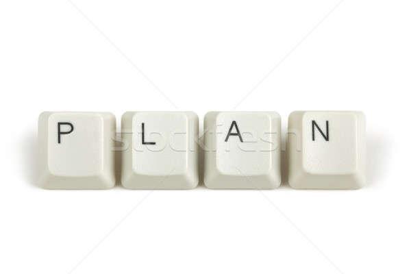 Plan teclado claves blanco texto aislado Foto stock © artush