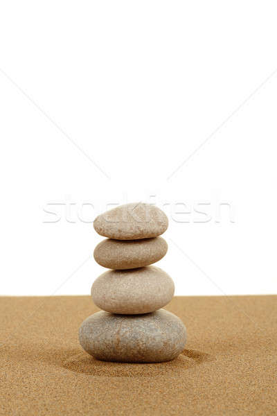 Stockfoto: Evenwicht · zen · stenen · zand · witte · strand