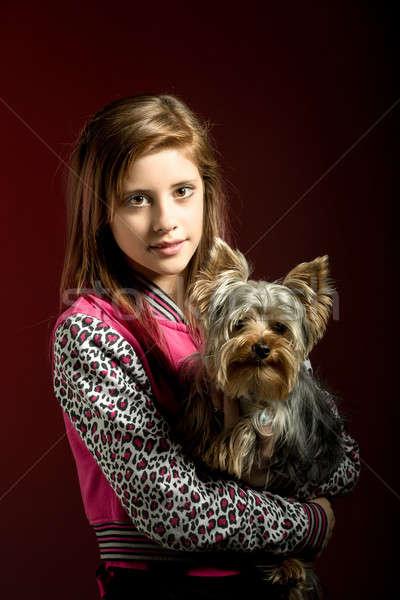 Glimlachend jong meisje huisdier yorkshire aantrekkelijk lang haar Stockfoto © artush