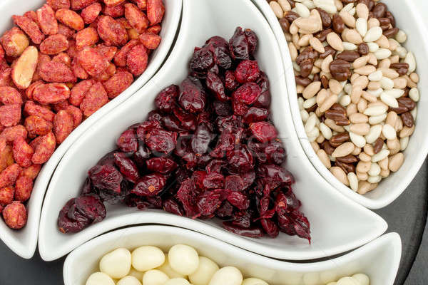 almonds in chocolate, cranberries and walnuts Stock photo © artush
