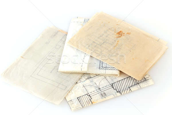 Stock photo: Architectural plans of the old paper