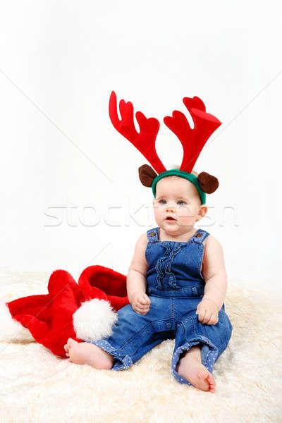 Criança menina natal seis rena Foto stock © artush