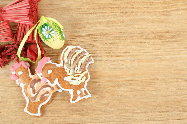 Easter ginger breads and painted egg Stock photo © artush